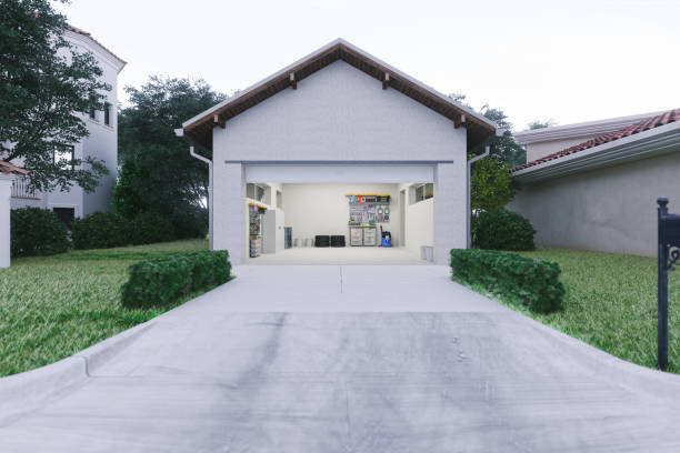 Modern garage door with a concrete driveway at the urban district.